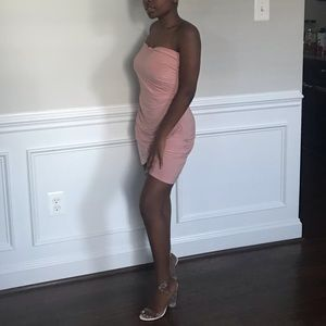 Pink bandeau dress
